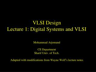 VLSI Design Lecture 1: Digital Systems and VLSI
