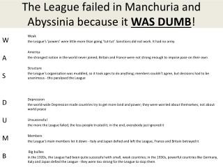 The League failed in Manchuria and Abyssinia because it  WAS DUMB !