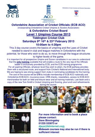 Oxfordshire Association of Cricket Officials (ECB ACO)