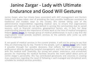 Janine Zargar - Lady with Ultimate Endurance and Good Will G