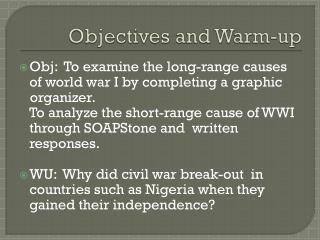 Objectives and Warm-up