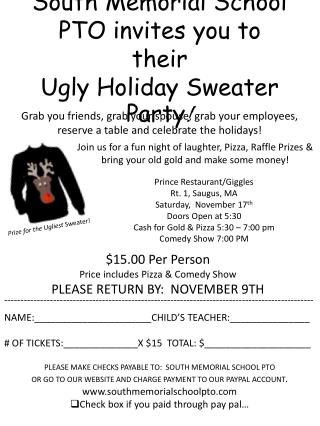 South Memorial School PTO invites you to  their  Ugly Holiday Sweater Party !