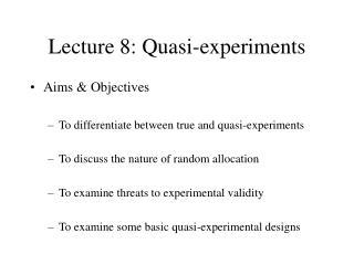 Lecture 8: Quasi-experiments