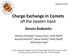 Charge Exchange in Comets off the beaten track