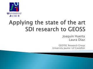 Applying the state of the art  SDI research to GEOSS