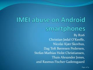 IMEI abuse on Android smartphones