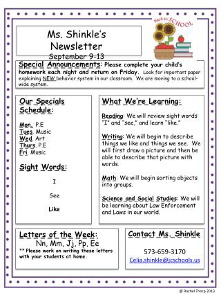Ms.  Shinkle's  Newsletter September  9- 13