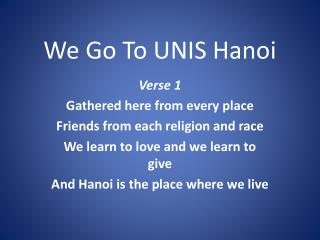 We Go To UNIS Hanoi