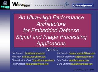 An Ultra-High Performance Architecture  for Embedded Defense  Signal and Image Processing Applications