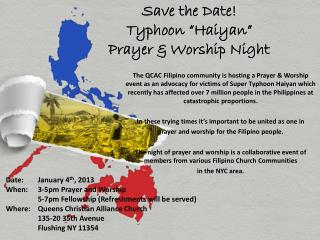 "Save the Date!  Typhoon  "" Haiyan ""   Prayer & Worship Night"