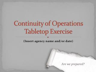 Continuity of Operations  Tabletop Exercise