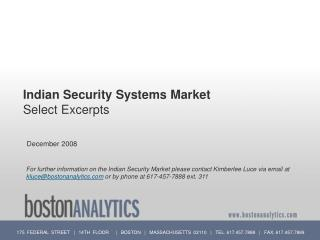 Indian Security Systems Market Select Excerpts