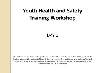 Youth Health and  Safety Training Workshop DAY  1