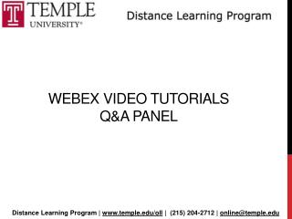 Webex  Video Tutorials  Q&A Panel