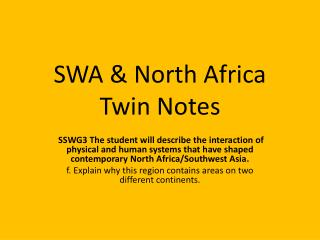 SWA & North Africa Twin Notes
