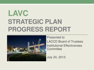 LAVC Strategic plan Progress Report