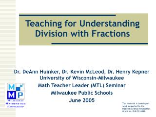 Teaching for Understanding Division with Fractions