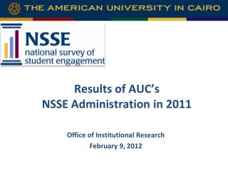 Results of AUC's  NSSE Administration in 2011