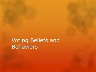 Voting Beliefs and Behaviors