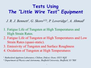 "Tests Using The ""Little Wire Test"" Equipment"
