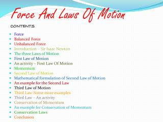 Force And Laws Of Motion