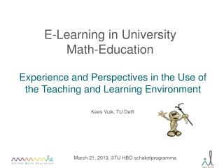 E-Learning in University  Math-Education