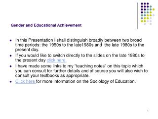 Gender and Educational Achievement