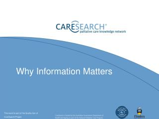 Why Information Matters