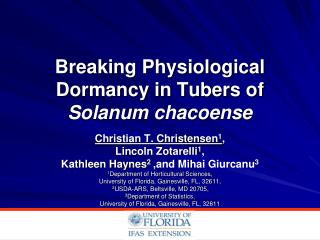 Breaking Physiological Dormancy in Tubers of  Solanum chacoense