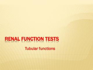 Renal function tests