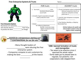 Free Enterprise Systems & Trusts 	Name:_______________________