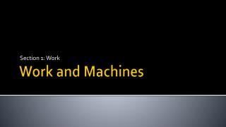 Work and Machines