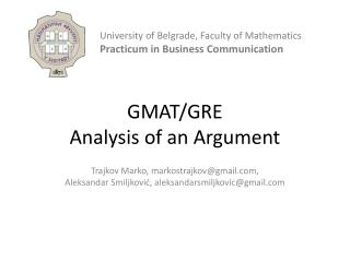 GMAT/GRE  Analysis of an Argument