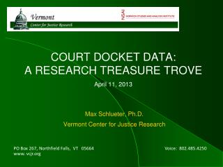 COURT DOCKET DATA:  A RESEARCH TREASURE TROVE April 11, 2013