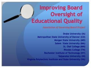 Improving Board Oversight of  Educational Quality