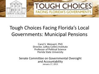 Tough Choices Facing Florida's Local Governments: Municipal Pensions