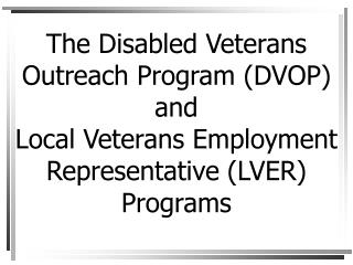 The Disabled Veterans Outreach Program DVOP and  Local Veterans Employment Representative LVER Programs