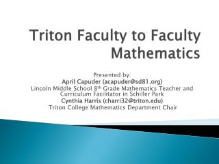 Triton Faculty to Faculty Mathematics