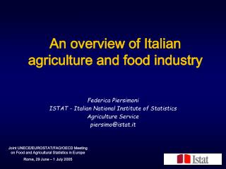 An overview of Italian agriculture and food industry