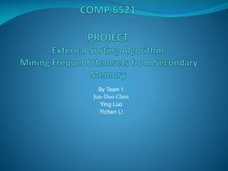 COMP 6521 PROJECT External Sorting Algorithm  Mining Frequent  Itemsets  from Secondary Memory