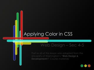 Applying Color in CSS