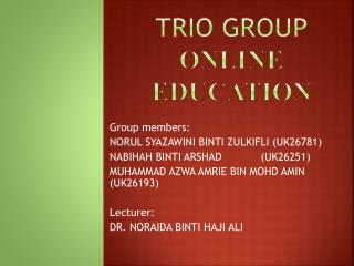 TRIO GROUP ONLINE education