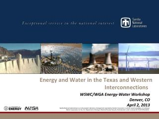 Energy and Water in the Texas and Western Interconnections