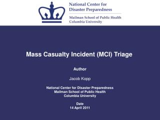 Mass Casualty Incident (MCI) Triage