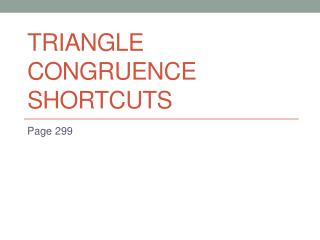 Triangle Congruence Shortcuts