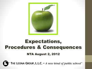 Expectations,  Procedures & Consequences NTA August 2, 2012