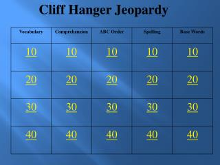 Cliff Hanger Jeopardy
