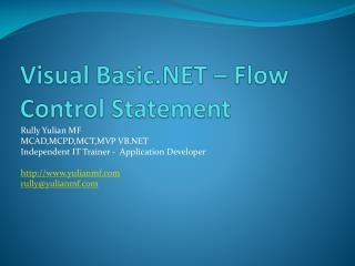 Visual Basic.NET – Flow Control Statement