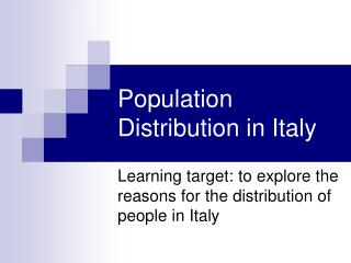 Population Distribution in Italy