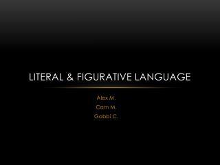 Literal & Figurative Language